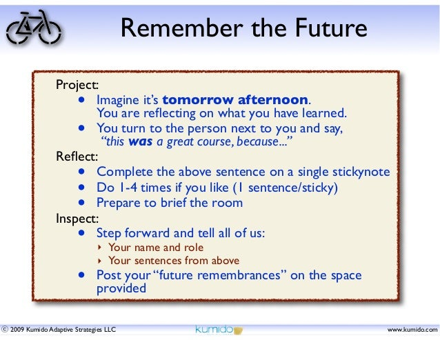 ⓒ 2009 Kumido Adaptive Strategies LLC www.kumido.com Project: • Imagine it's tomorrow afternoon. You are reflecting on what...