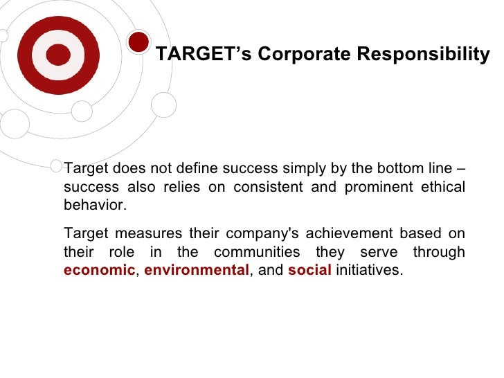 an essay on corporate social responsibility and the target company Corporate responsibilty and marketing strategies essay examples corporate social responsibility newell company: corporate strategy essay.