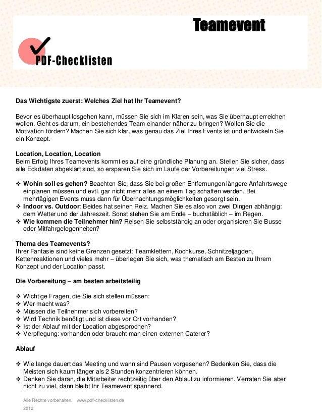 Checkliste Teamevent