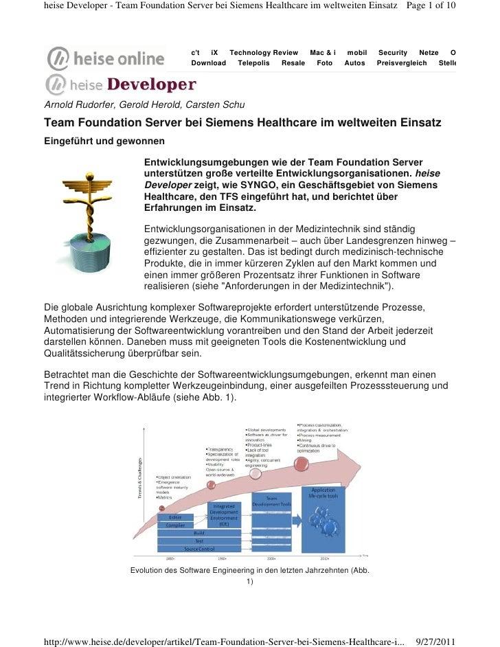 heise Developer - Team Foundation Server bei Siemens Healthcare im weltweiten Einsatz Page 1 of 10                        ...