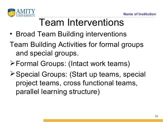Intervention Team Team Interventions • Broad