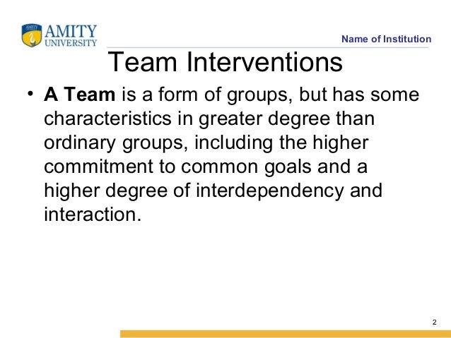 Intervention Team Team Interventions • a