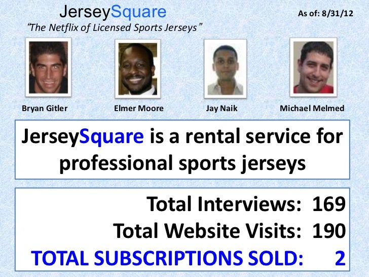 "JerseySquare                                     As of: 8/31/12 ""The Netflix of Licensed Sports Jerseys""Bryan Gitler      ..."