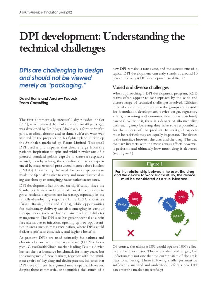 As first AppeAred in inhalation June 2012DPI development: Understanding thetechnical challengesDPIs are challenging to des...