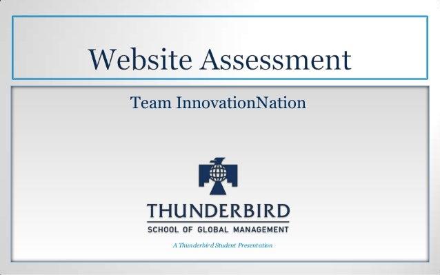 Team InnovationNation     A Thunderbird Student Presentation