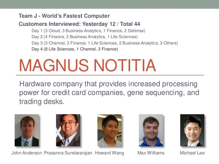 Team J - Worlds Fastest Computer  Customers Interviewed: Yesterday 12 / Total 44        Day 1 (3 Cloud, 3 Business Analyti...