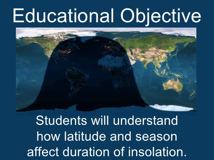 Educational Objective       Students will understand    how latitude and season  affect duration of insolation.