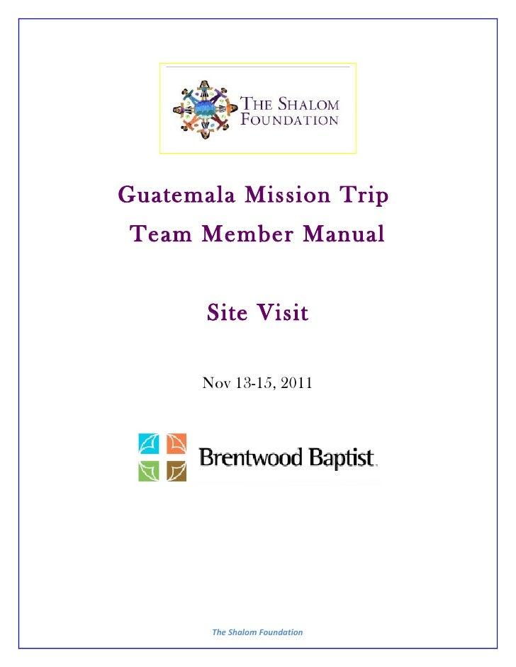Team manual for Brentwood Baptist Site Visit Nov2011