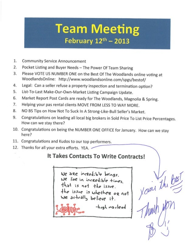 Team Meeting Agenda Notes | Better Homes And Gardens Real Estate Gary Greene | The Woodlands and Magnolia Marketing Centers | Feb 12 2013