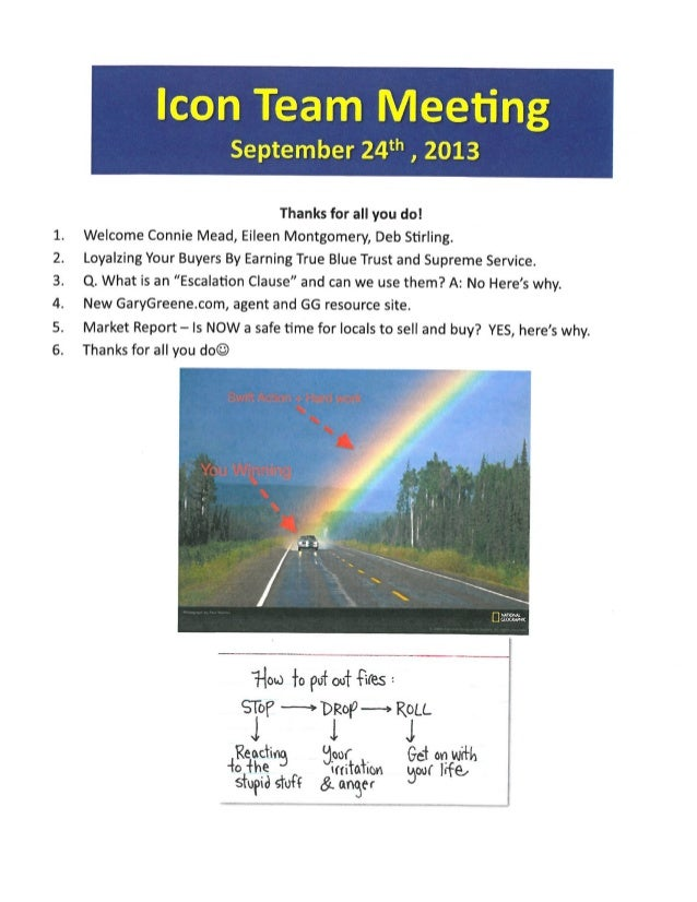 Team Meeting Agenda Motes | BHGREGG The Woodlands and Magnolia TX | September 24th 2013