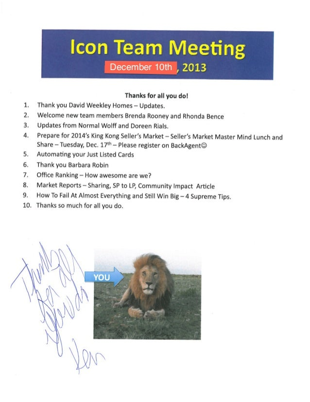 Team Meeting Icon Agenda Notes | BHGRE Gary Greene | The Woodlands and Magnolia Marketing Centers | 12.10.13