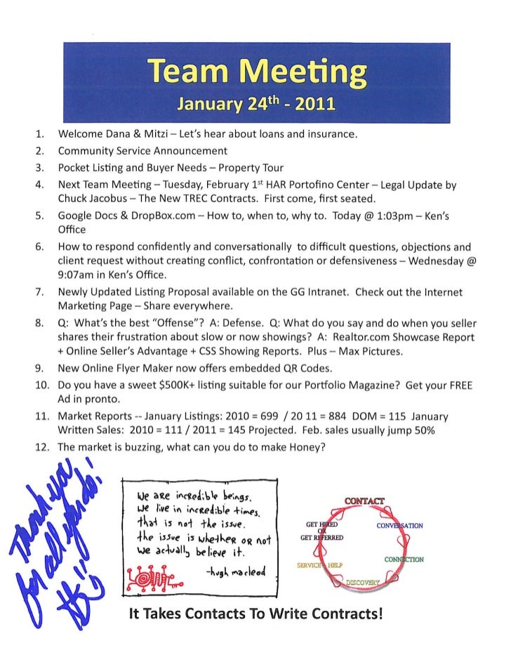 Team Meeting Agenda Notes - Prudential Gary Greene, Realtor Icons - The Woodlands TX / 1.24.11