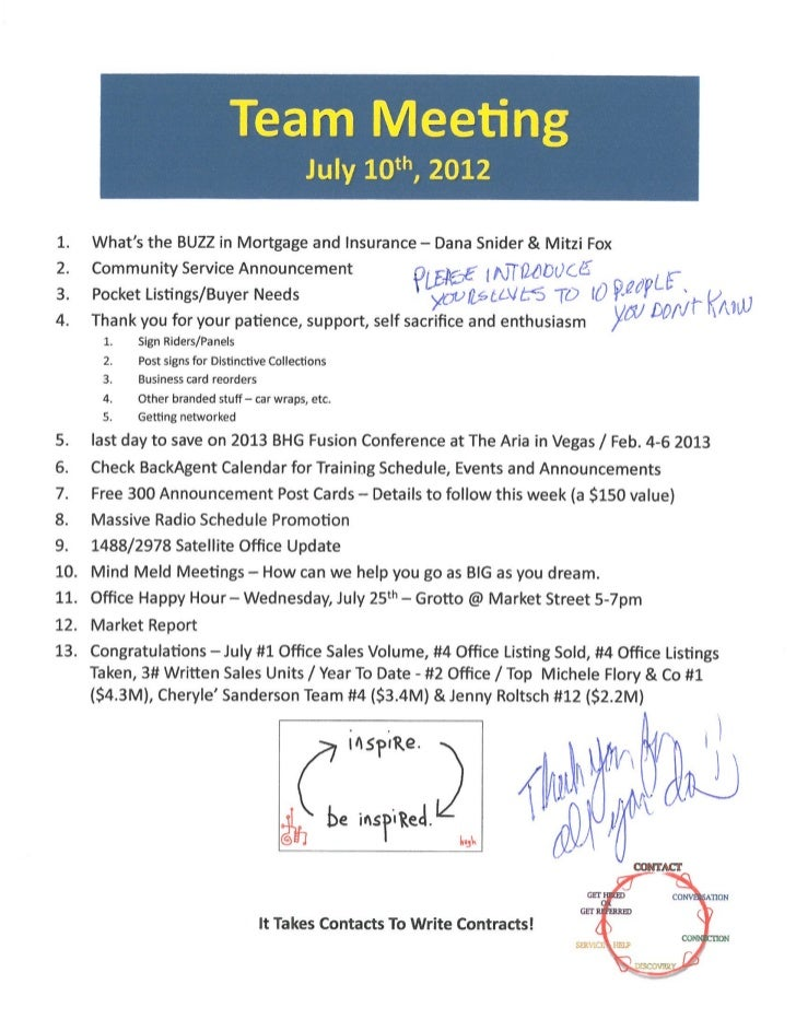 Team Meeting Agenda Notes / Better Homes And Gardens Real Estate Gary Greene / The Woodlands Office / July 10th, 2012