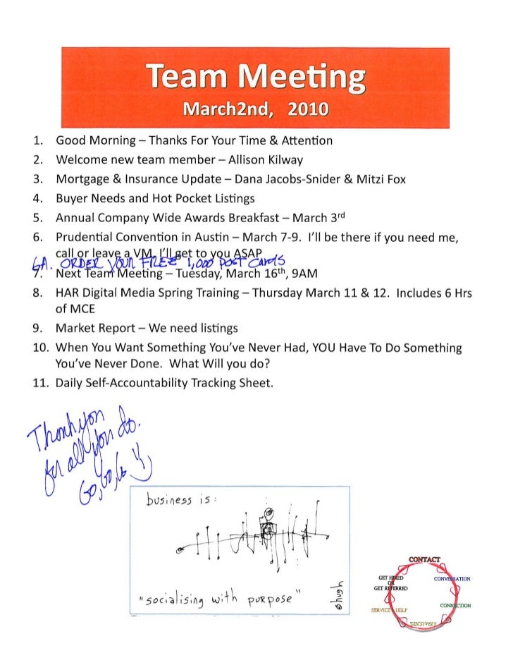Team Meeting Agenda Notes - Realtor Icons / Prudential Gary Greene, Realtors - The Woodlands TX