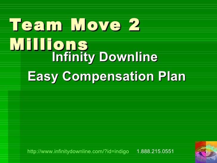 Team Move 2 Millions Infinity Downline  Easy Compensation Plan http://www.infinitydownline.com/?id=indigo   1.888.215.0551