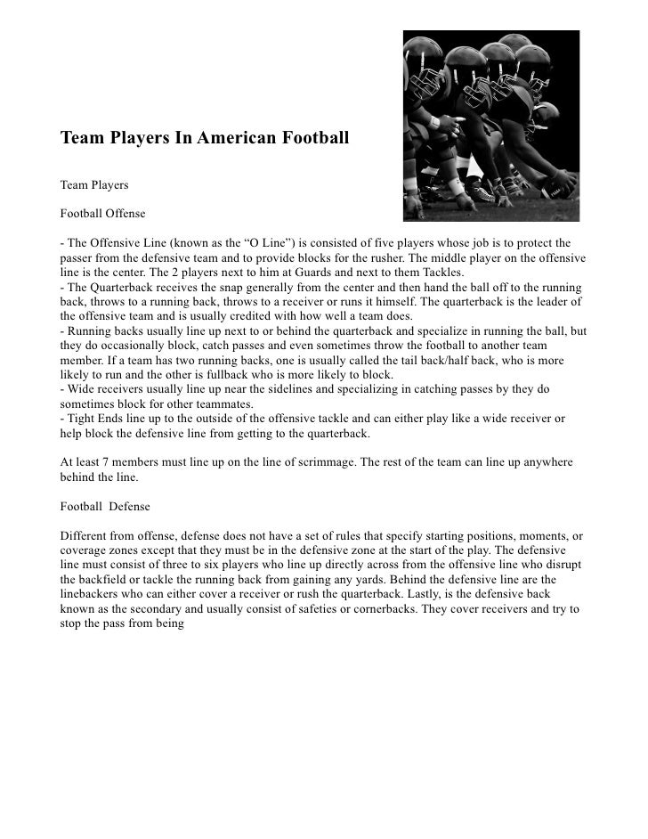 """Team Players In American Football  Team Players  Football Offense  - The Offensive Line (known as the """"O Line"""") is consist..."""