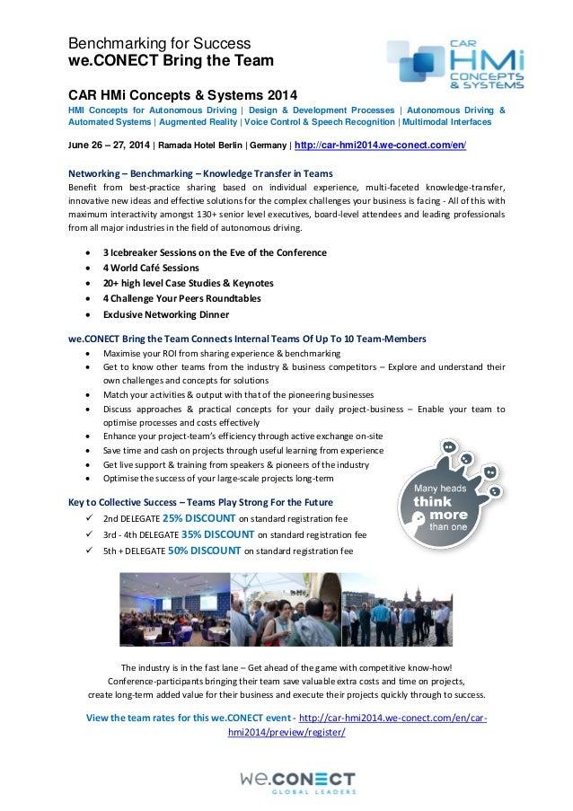 Benchmarking for Success we.CONECT Bring the Team CAR HMi Concepts & Systems 2014 HMI Concepts for Autonomous Driving | De...