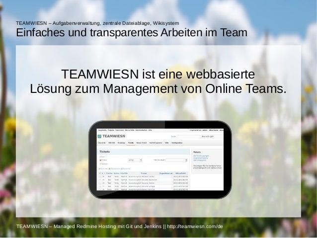 TEAMWIESN – Aufgabenverwaltung, zentrale Dateiablage, Wikisystem  Einfaches und transparentes Arbeiten im Team  TEAMWIESN ...