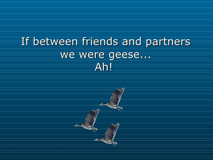 If between friends and partners we were geese... Ah!