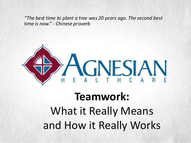 """""""The best time to plant a tree was 20 years ago. The second besttime is now."""" - Chinese proverb             Teamwork:     ..."""