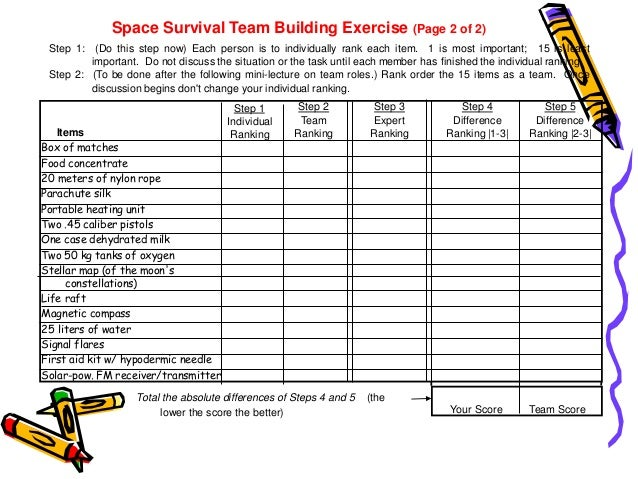 Rank 15 survival items exercise