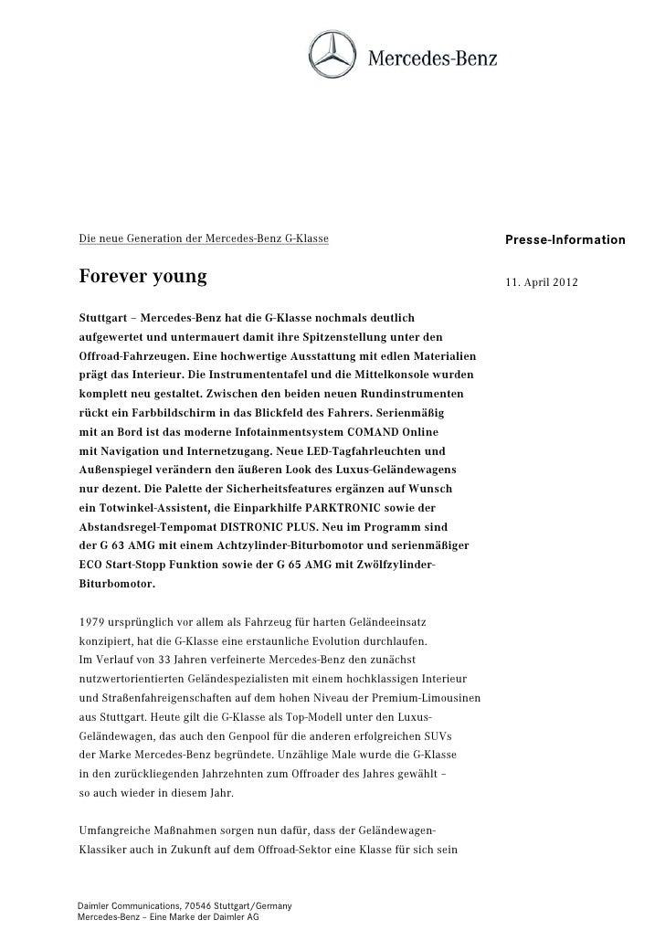 Die neue Generation der Mercedes-Benz G-Klasse                               Presse-InformationForever young              ...
