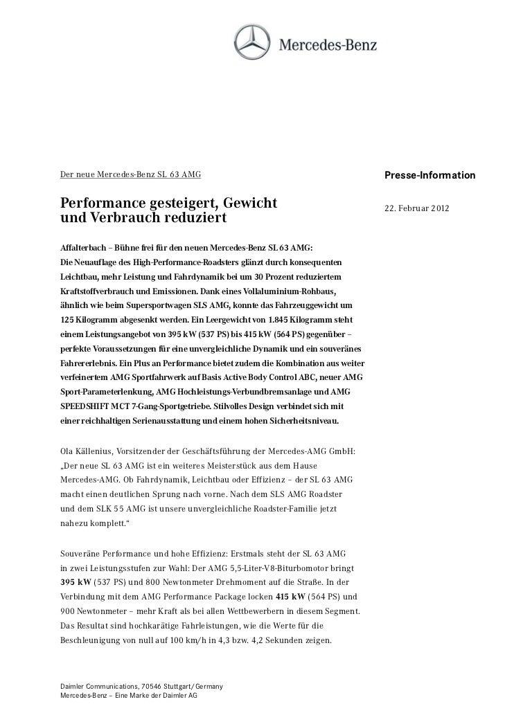 Der neue Mercedes-Benz SL 63 AMG                                                  Presse-InformationPerformance gesteigert...