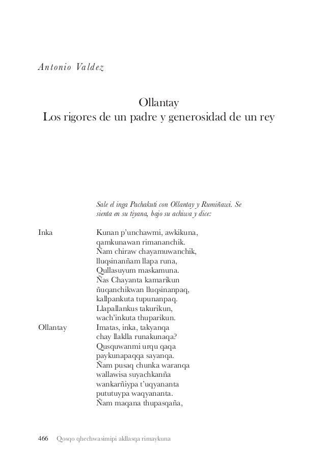 Antonio Valdez  Ollantay Los rigores de un padre y generosidad de un rey  Sale el inga Pachakuti con Ollantay y Rumiñawi. ...