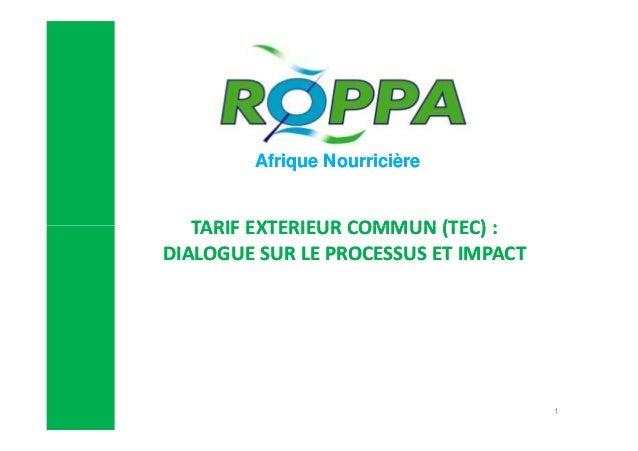 Afrique Nourricière  TARIF EXTERIEUR COMMUN (TEC) : DIALOGUE SUR LE PROCESSUS ET IMPACT  1