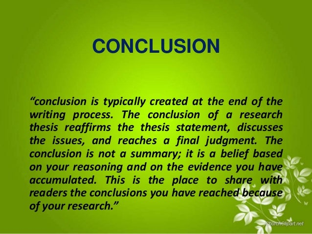 discussion and conclusion thesis Writing a conclusion is an important part of thesis dissertation writing ideally, a good conclusion should be able to provide a good picture of what the thesis is about.