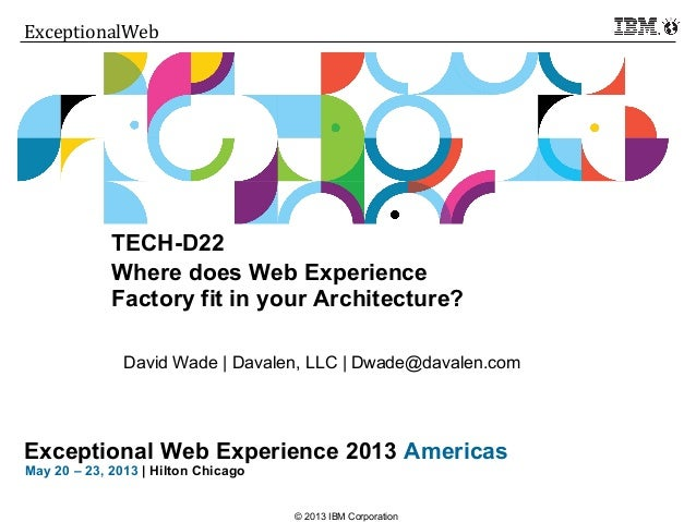 Click to add text Exceptional Web Experience 2013 Americas May 20 – 23, 2013 | Hilton Chicago ExceptionalWeb © 2013 IBM C...