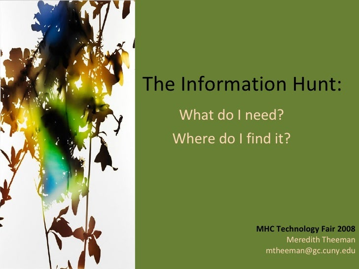 The Information Hunt: What do I need?  Where do I find it?  MHC Technology Fair 2008 Meredith Theeman [email_address]