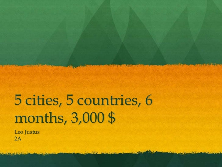 5 cities, 5 countries, 6months, 3,000 $Leo Justus2A