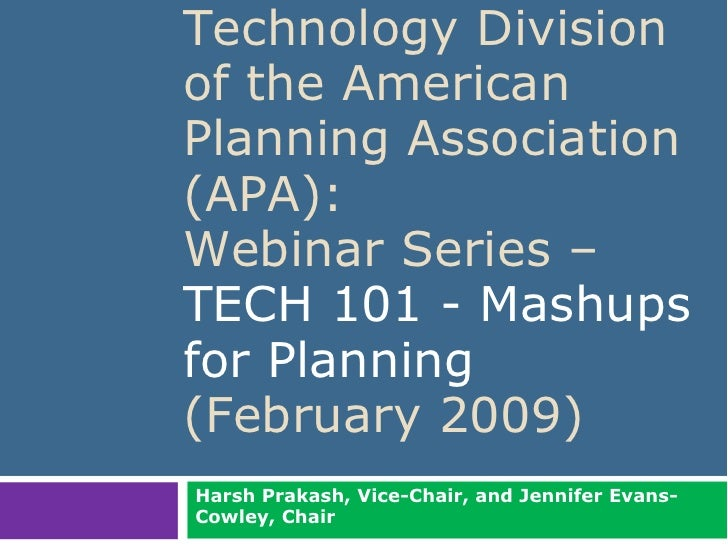 Technology Division                             of the American                             Planning Association          ...