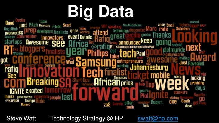 Big DataSteve Watt 1             Technology Strategy @ HP   swatt@hp.com