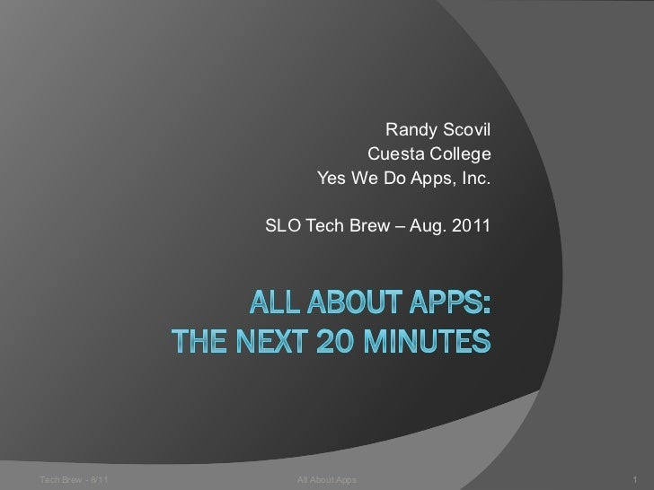 Randy Scovil                               Cuesta College                          Yes We Do Apps, Inc.                   ...