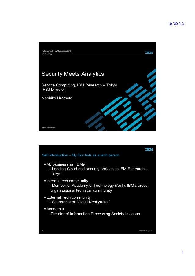 [RakutenTechConf2013] [A-0] Security Meets Analytics