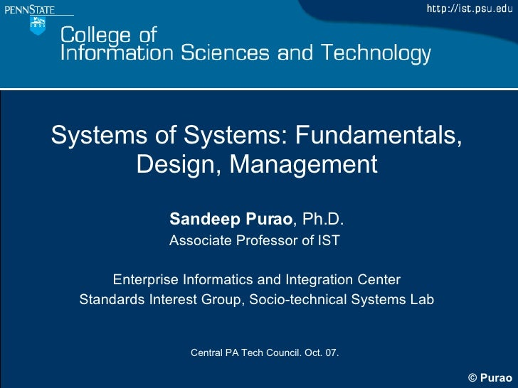 Systems of Systems - Design and Management