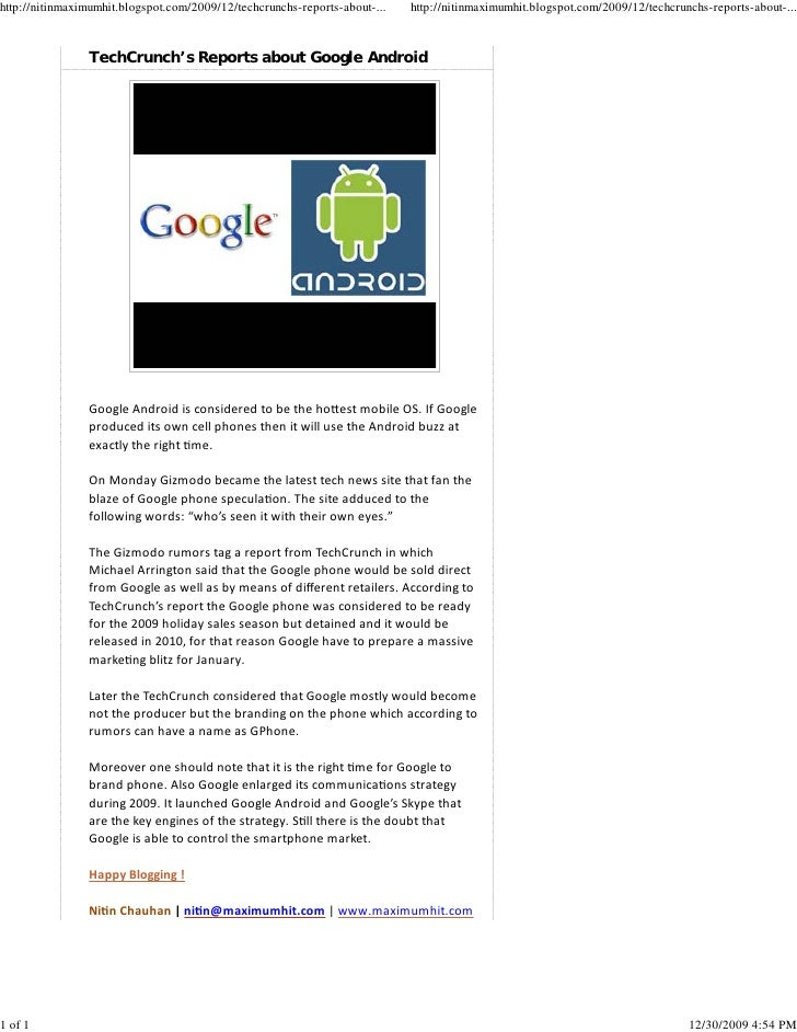 Tech Crunch'S Reports About Google Android