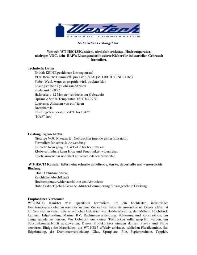 Technisches Leistungsblatt Westech WT-HSC13(Kanister), wird als hochfestes , Hochtemperatur, niedriges VOC, kein HAP's Lös...
