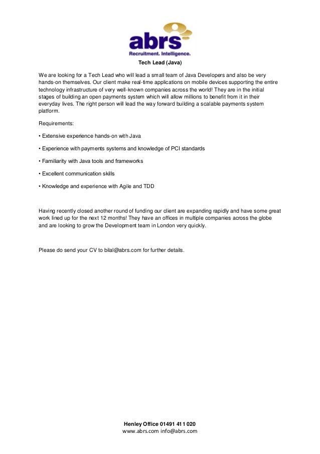 Tech Lead (Java) - Job in London from abrs