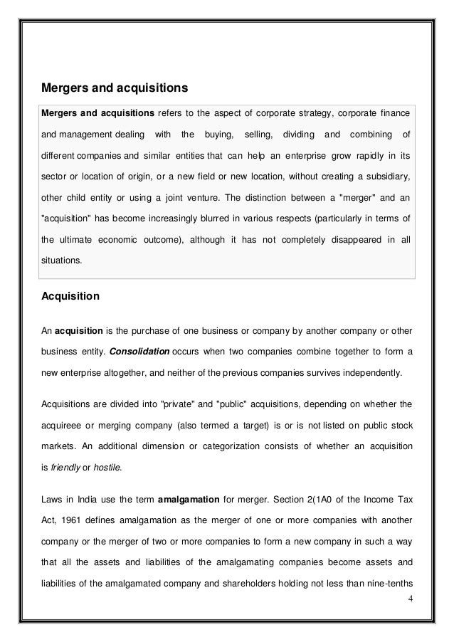 mergers and aquisitions essay Free essay: nowadays mergers and acquisitions are regarded as a key strategic option for the organisations all over the world according to huang and kleiner.