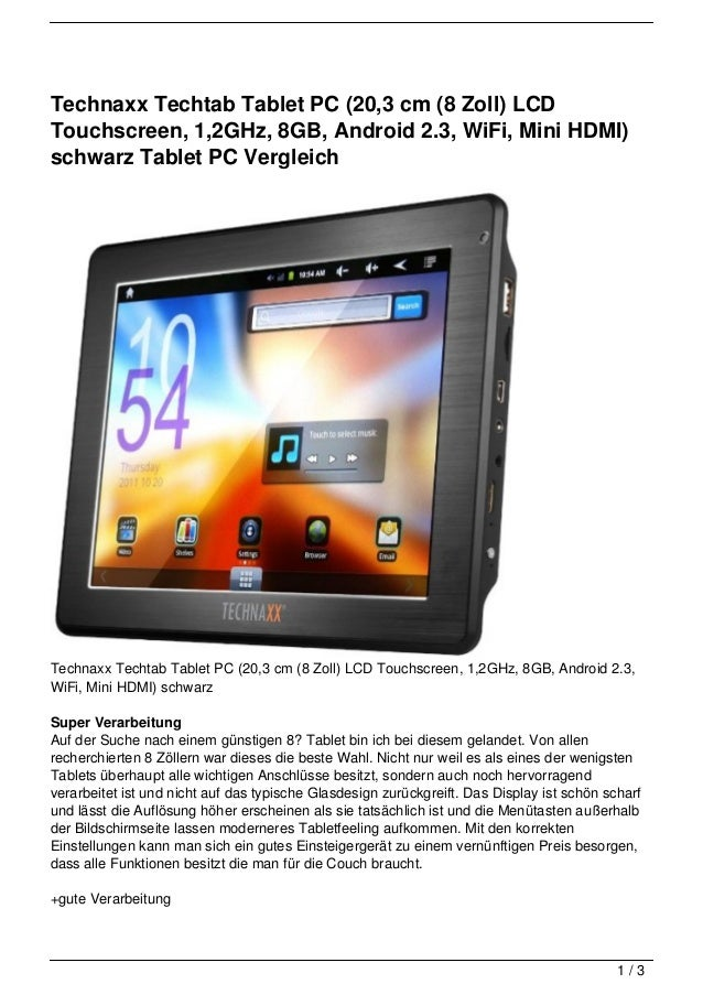Technaxx Techtab Tablet PC (20,3 cm (8 Zoll) LCDTouchscreen, 1,2GHz, 8GB, Android 2.3, WiFi, Mini HDMI)schwarz Tablet PC V...