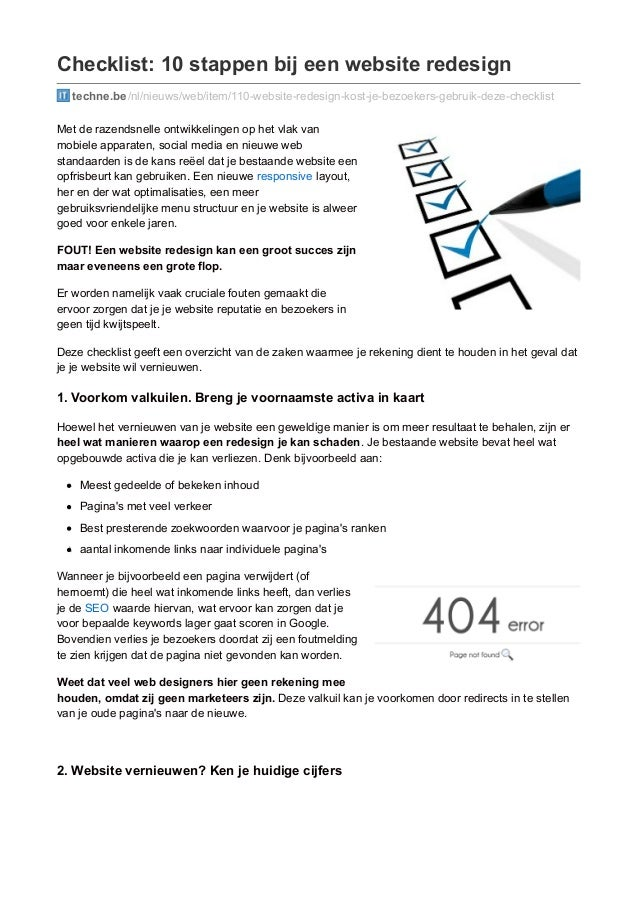 Checklist: 10 stappen bij een website redesign  techne.be /nl/nieuws/web/item/110-website-redesign-kost-je-bezoekers-gebru...