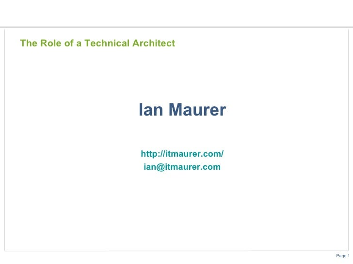 Technical Architect Role