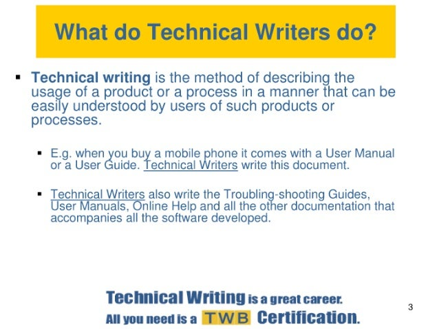 Career as a technical writer