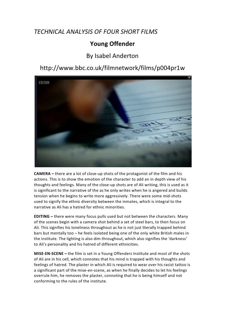 TECHNICAL ANALYSIS OF FOUR SHORT FILMS<br />Young Offender<br />By Isabel Anderton<br />http://www.bbc.co.uk/filmnetwork/f...