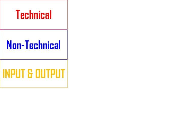 TechnicalNon-TechnicalINPUT & OUTPUT