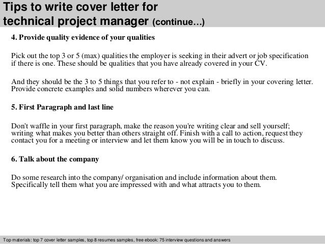 technical project manager cover letter