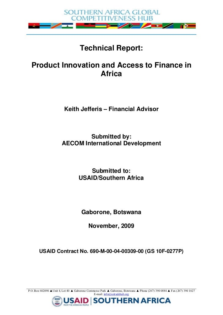 Technical Report:      Product Innovation and Access to Finance in             ...